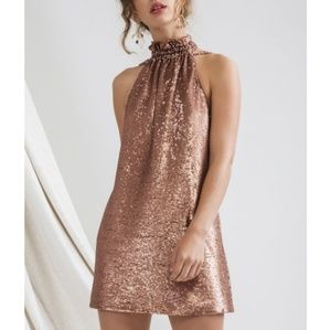 C/MEO Collective Copper Sequin Party Dress NWT